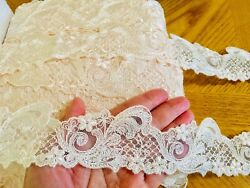2 Yard Off White Floral Embroidered Ribbon Lace Trim Sewing Craft Bridal 2quot; Wide $7.98