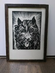 Vintage Block Print  Antique Scottie Terrier  Dog
