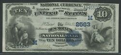 10 1882 Ch 2583 Date Back Des Moines Iowa National Bank Choice Xf+ Wlm9169