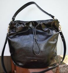 Cole Haan And039stagedoorand039 Small Studio Blk Leather Shoulder Bucket Bag Nwt Mrsp 380