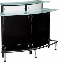 Arched 1-shelf Bar Unit With Glass Counter Tops Glossy Black Chrome Frosted A...