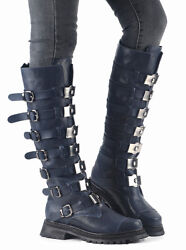 All Us Size Women Leather Buckle Metal Motor Winter Combat Knee High Boots Shoes