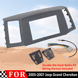 Double Din Radio Install Dash Kit Wiring Harness Fits 05-07 Jeep Grand Cherokee