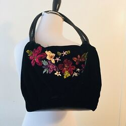 CAPPELLI Boho Floral Velvet Fabric Hand Bag Purse Embroidered Bling Top Handle