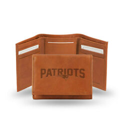New England Patriots Tan Leather Tri Fold Wallet Embossed Logo