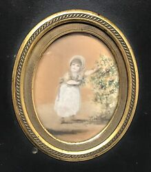 """Antique Vintage 1750 """"a Five Year Old"""" Girl Oval Miniature Portrait Painting Old"""