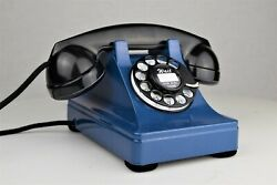 Vintage Fully Refurbished And Working Western Electric Blue 302 Rotary Telephone