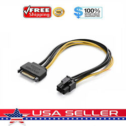 15pin Sata Power To 6pin Pcie Pci-e Pci Express Adapter Cable For Video Card Usa