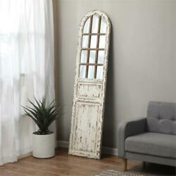 Luxenhome Distressed White Wood Farmhouse Door Wall Mirror