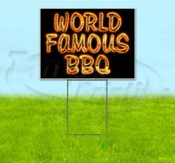 World Famous Bbq 18x24 Yard Sign With Metal Stake Corrugated Bandit Bbq Usa