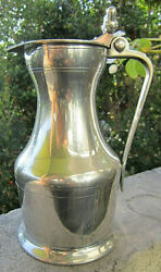Vintage Collectible 24 Oz Etain Legal French Lidded Pewter 8 1/4 Pitcher Mint
