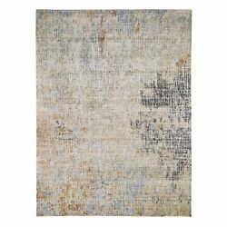 9'x12' Beige Abstract Design Wool And Silk Hand Knotted Oriental Rug G47690