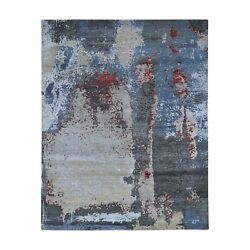 8and039x10and0391 Black Abstract Design Wool And Silk Hand Knotted Oriental Rug G47697