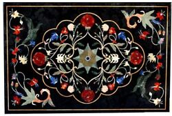 48 X 32 Marble Dining Table Top Pietra Dura Floral Handmade Work Home Decor