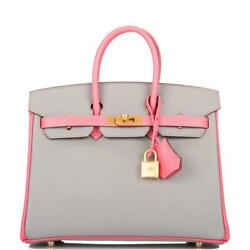 Hermes HSS Bi-Color Rose Azalee and Gris Mouette Epsom Birkin 25cm Brushed Gold