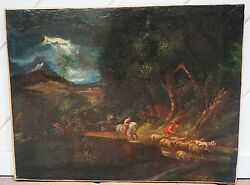 Extremely Rear Beautiful Antique Art Of Forest17th Century Restored Original