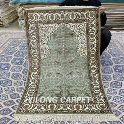 Yilong 2.75and039x4and039 Green Handmade Silk Carpet Traditional Antique Area Rug Yxr325b