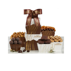 Chocolate Sweets Gift Tower Cookies Caramels Marshmallows Almonds Popcorn New
