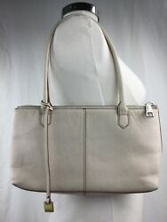 Hobo International Lola Leather Satchel Purse Shoulder Bag Beige Ivory $37.19