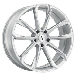Status Mastadon 22x9.5 5x112 Et35 Silver With Brushed Machine Face Qty Of 4