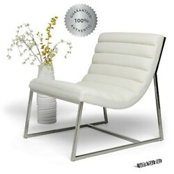 Modern Chair Mid Century White F Leather Stainless Steel Cushioned Comfort Seat