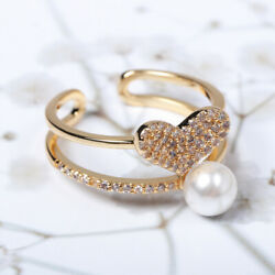 14k Solid Gold Open Ring With Zircon CZ & Pearl Central Heart Stylish For Women