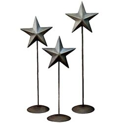 New Primitive Country Farmhouse 3 Brushed Antique Silver Star Pedestal Stand