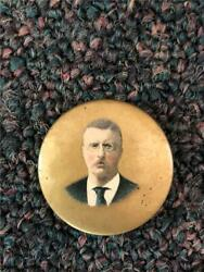 Old Teddy Theodore Roosevelt Gold 1904 Campaign Pinback Button F. F. Pulver Co