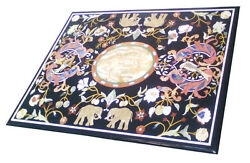 48 X 32 Marble Dining Center Table Top Pietradura Inlay Work For Home Decor