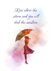 Art Print Rise Above The Storm Quote, Inspirational, Woman, Umbrella, Gift