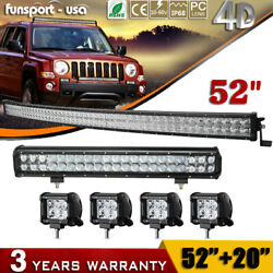 52inch Curved Led Light Bar +20 126w +4'' 18w Pods For Ford Jeep Truck Suv 4wd