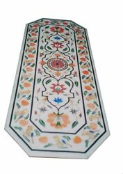 48 X 24 Marble Center Coffee Table Top Semi Precious Stones Floral Inlay Work