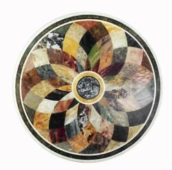 30 White Marble Coffee Round Table Top Pietra Dura Marquetry Inlay Work