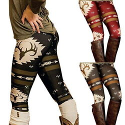 US Womens Christmas Deer Print Stretch Pants Sports Leggings Funny Trousers GIFT
