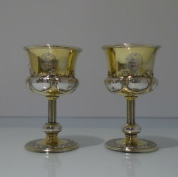 Early 19th Century William Iv Sterling Silver Pair Wine Goblets London 1834