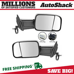 Side View Mirror Tow Power Heated Signal Black Pair 2 For Ram 1500 2500 3500 V8