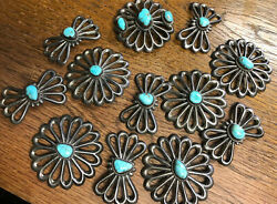 Vintage Native American Sterling Silver Hand Made Turquoise Conchoandrsquos For Belt
