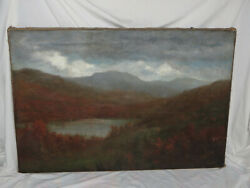 Antique Asa Twitchell Oil Canvas Painting New York New Hampshire White Mountains