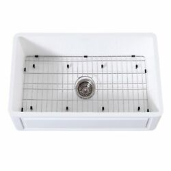 Gourmetier Kgkfa301810ld Farmhouse Single Bowl Kitchen Sink With Strainer And G...