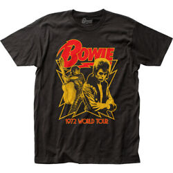 David Bowie 1972 World Tour T Shirt Mens Licensed Rock N Roll Band Tee New Black
