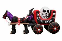 Bzb Goods 12 Foot Long Halloween Inflatable Carriage With Skeleton Ghost Skul...