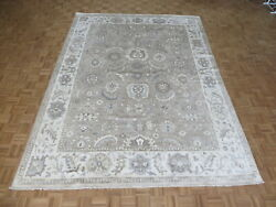 9 X 12and0393 Hand Knotted Beige Turkish Bamboo Silk Oushak Oriental Rug G8157