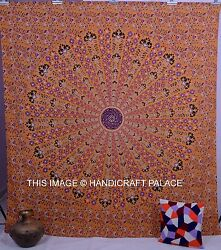Indian Mandala Yellow Tapestry Bedcover Bedding Decor Hippie Queen Wall Hanging