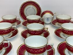 Limoges Raynaud Ceralene France 10 Cardinal Malmaison Footed Cups And Saucers