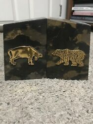 Bookends Brass Stock Market Bull And Bear On Brown Marble Base