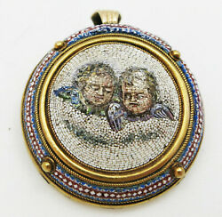 Antique Vatican Gold Micro Mosaic Brooch Early 19th Century