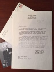 Arleigh Burke Typed Letter Signed By Admiral And Wwii Naval Hero About Ss Mayaguez
