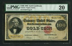 Fr1212 100 1882 Gold Note Pmg 20 Vf+ Rare Only 53 Recorded Wlm9488