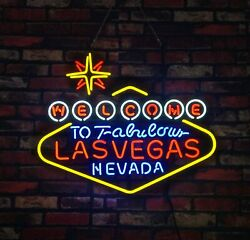 Las Vegas hand made Vintage Art Gift neon sign open game hall Beer Bar Casino