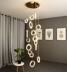 LED crystal ring pendant lamp villa hall staircase chandelier living room light